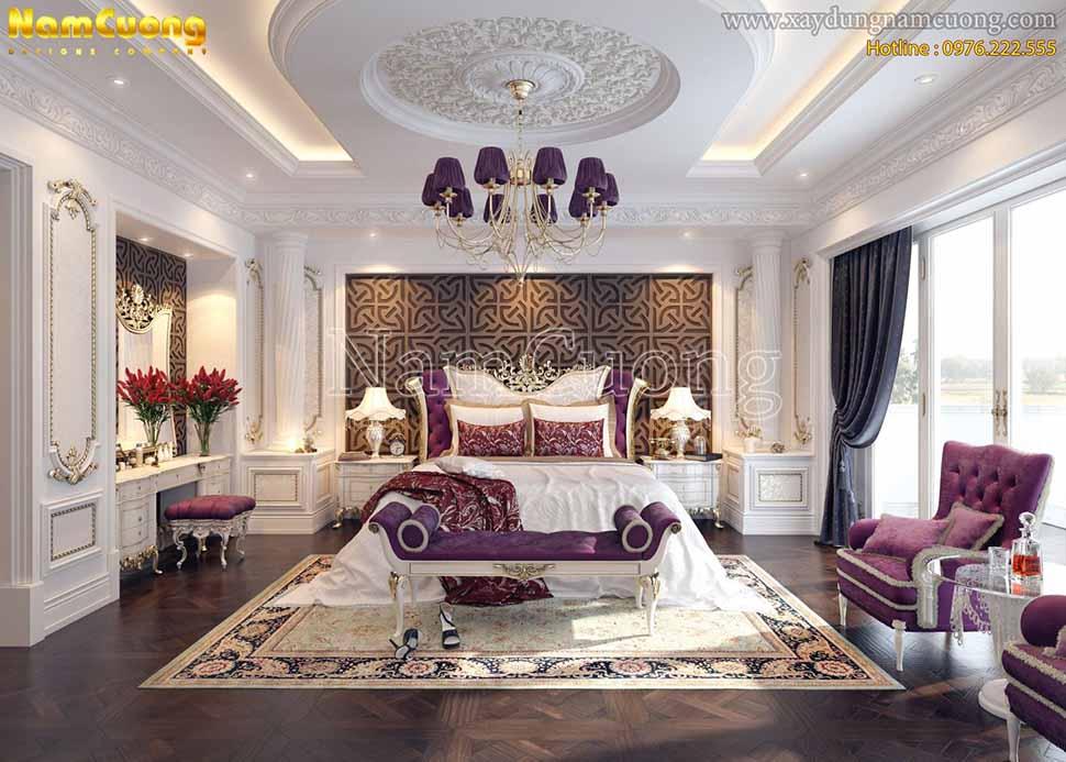 phòng ngủ màu tím đẹp