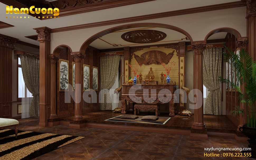 Ban thờ linh thiêng, trang nghiệm với 2 bên cột trụ vững chãi, khỏe khoắn