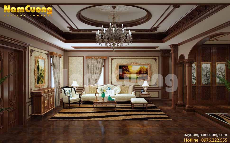Phòng khách sang trọng, lôi cuốn với bộ sofa màu trắng kem đẹp mắt