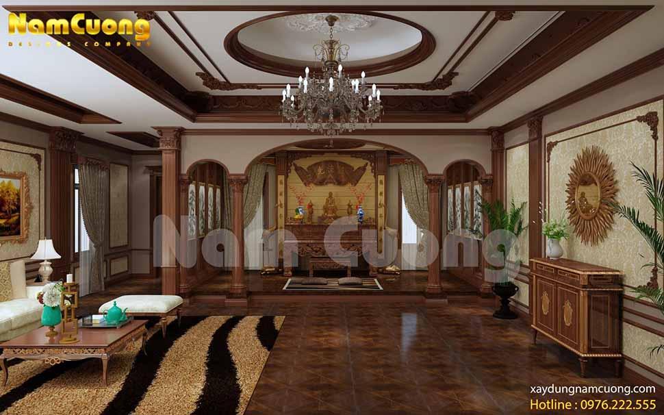 Không gian nội thất phòng thờ kết hợp phòng khách