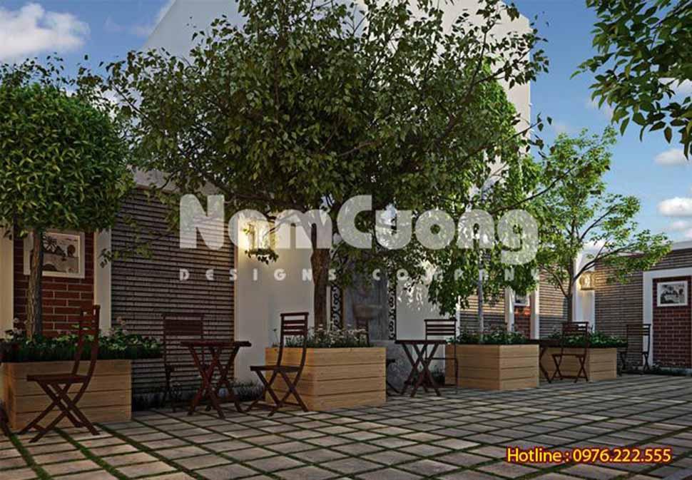 không gian cà phê sân vườn