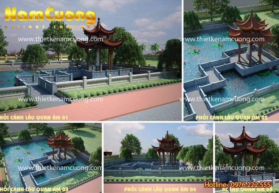 Phối cảnh kiến trúc khuôn viên ao nhà thờ họ Trịnh ở Ninh Giang, Hải Dương