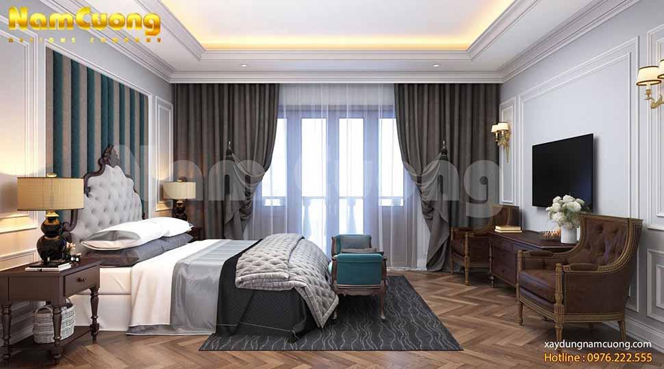 Phòng ngủ chính thiết kế chủ đạo là gam màu trắng nhẹ nhàng
