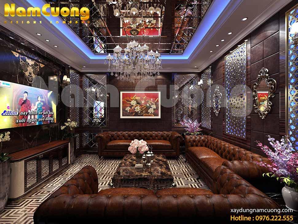 Phòng karaoke nổi bật với gam màu trầm cổ điển