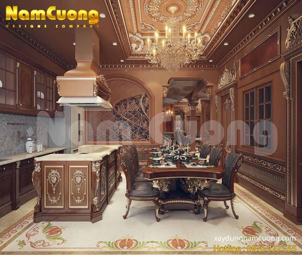 Không gian phòng bếp ấn tượng của ngôi biệt thự mang phong cách lâu đài cổ điển