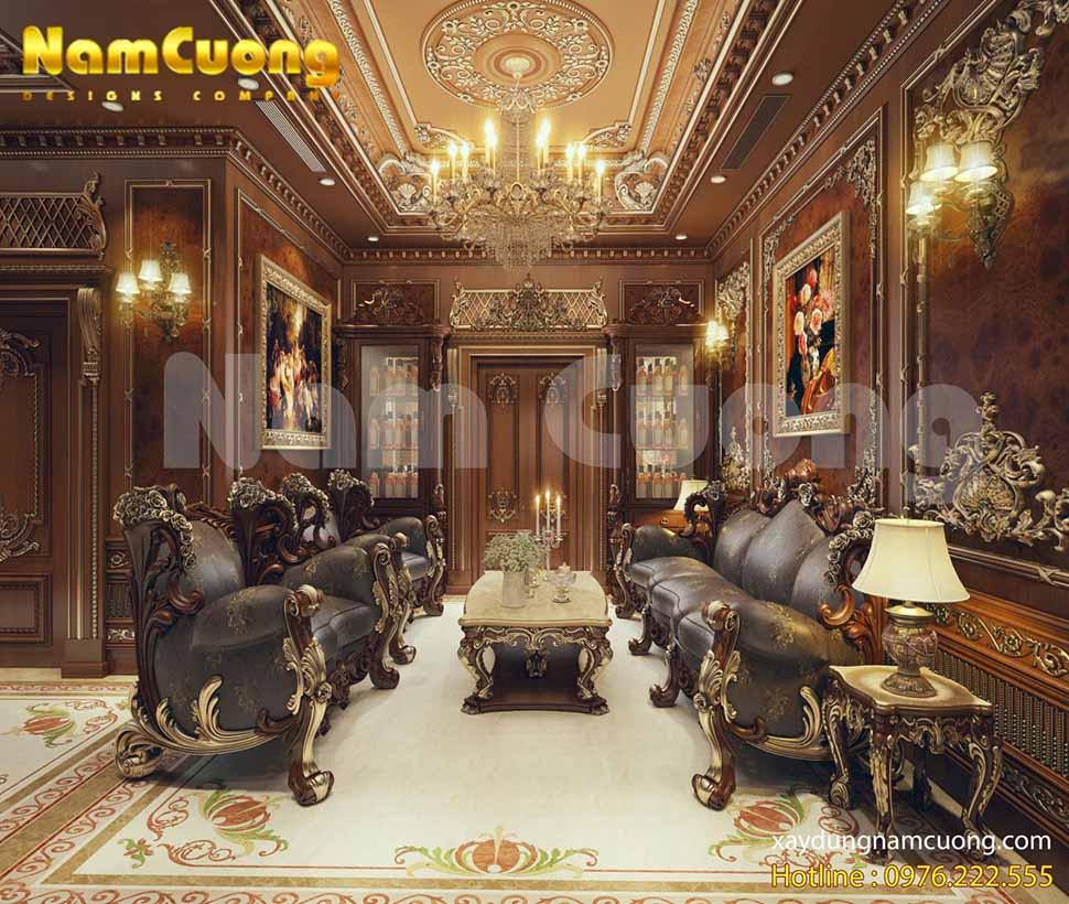 Phòng khách xa hoa, lộng lẫy của ngôi biệt thự lâu đài