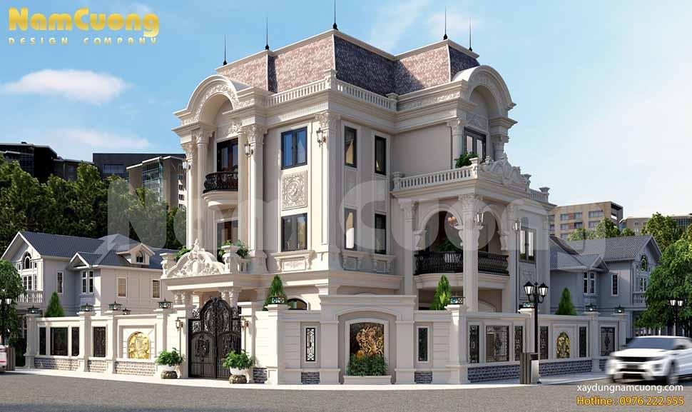 Tổng thể công trình biệt thự lâu đài Pháp 3 tầng đẹp hút mắt người nhìn