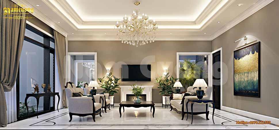 Mẫu phòng khách đầy ấn tượng, sang trọng cho biệt thự Pháp tại Khánh Hòa