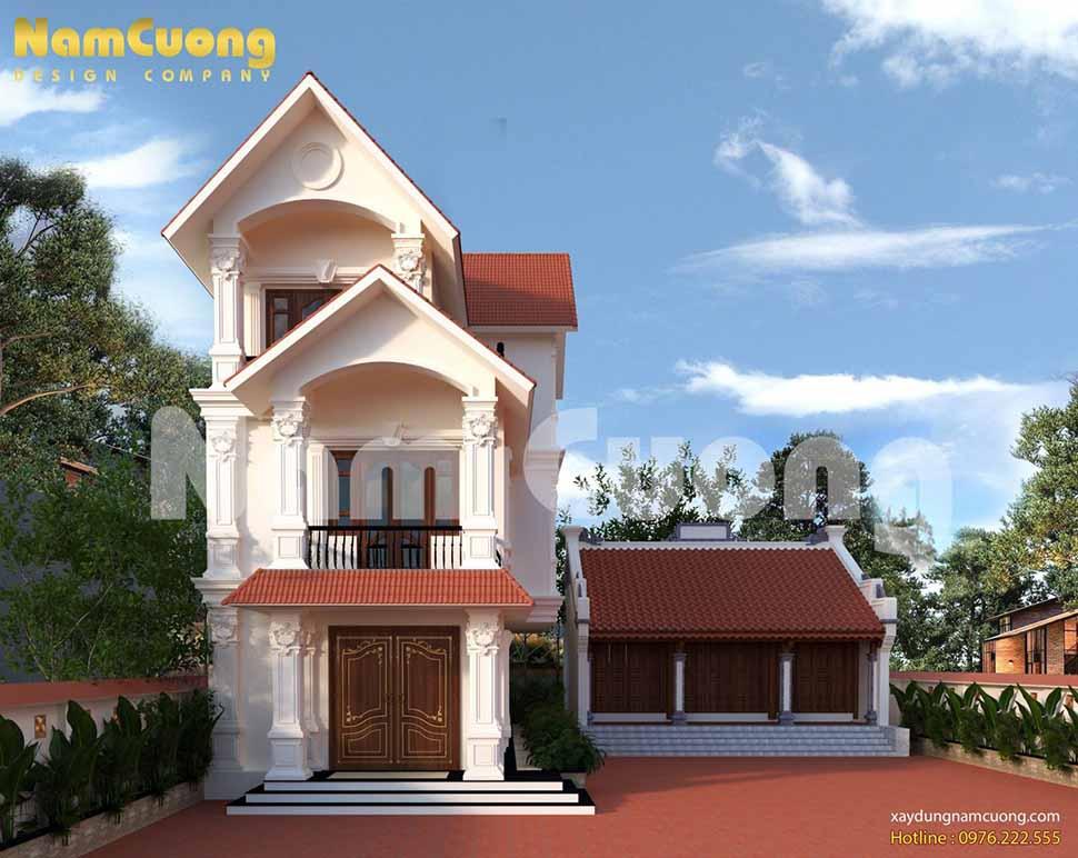 Mẫu thiết kế kiến trúc biệt thự tân cổ điển kết hợp nhà thờ của thầy Hà