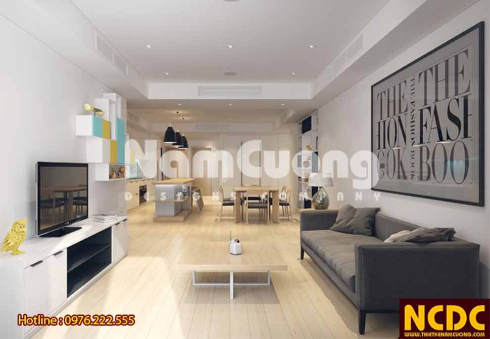 Không gian phòng khách đơn giàn mà vô cùng lịch sự với các thiết kế nội thất kiểu dáng hiện đại ,tiện nghi. Màu sắc nội thất sang trọng, tinh tế hài hòa với màu trắng nền nã của trần, tường và màu kem trang nhã của nền căn hộ.