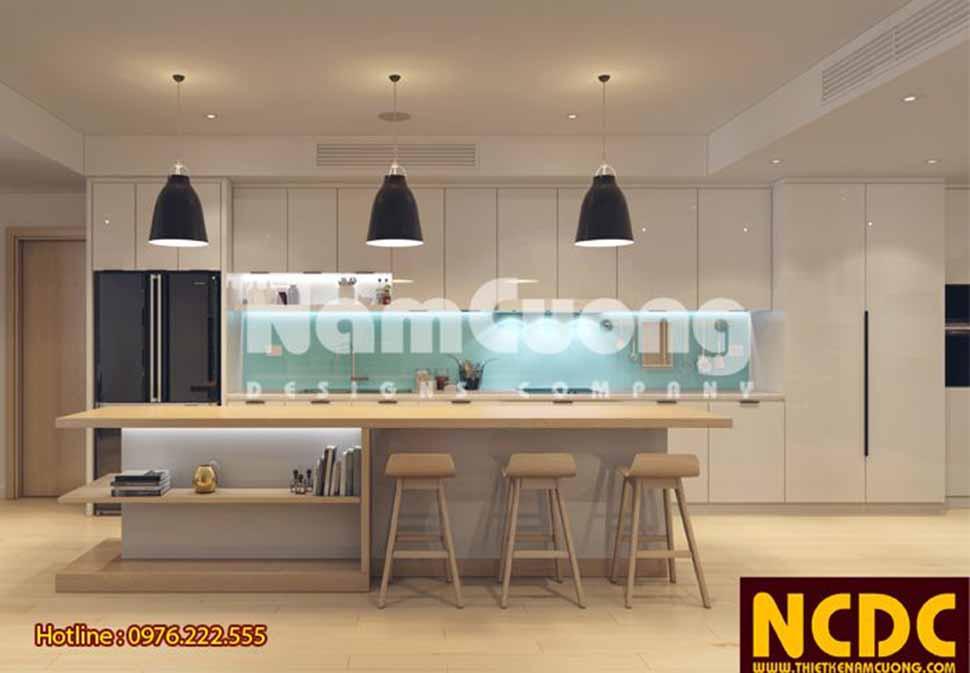 Không gian căn bếp tiện nghi, sang trọng với các màu sắc thanh lịch, nhẹ nhàng