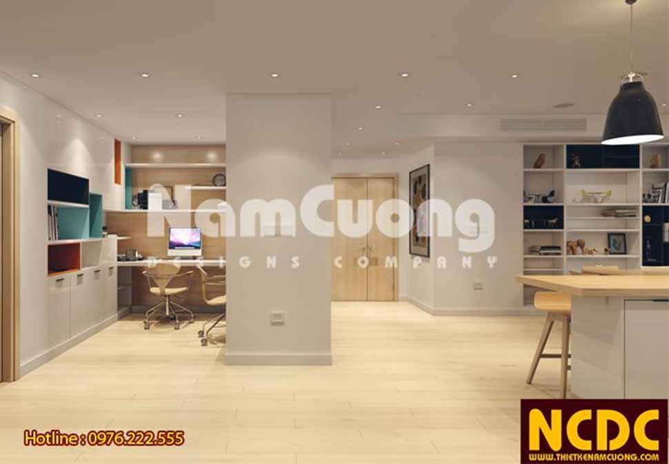 Các đồ dùng nội thất như kệ sách, tủ quần áo âm tường tạo thêm các khoảng trống rộng rãi cho thiết kế căn hộ chung cư hiện đại