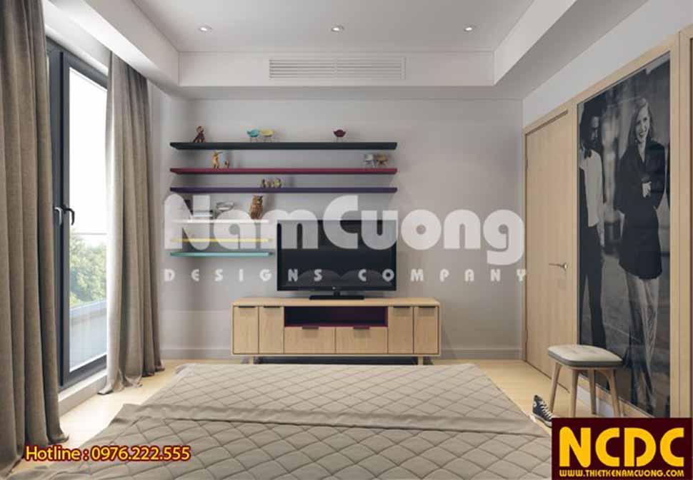 Không gian phòng ngủ thoáng đãng, rộng rãi nhờ thiết kế khung cửa kính lớn, vừa cho những góc view đẹp khi nhìn từ bên trong căn hộ.