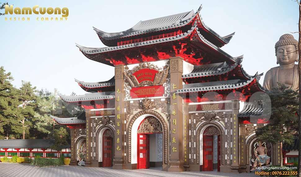 mẫu cổng chùa 5 gian