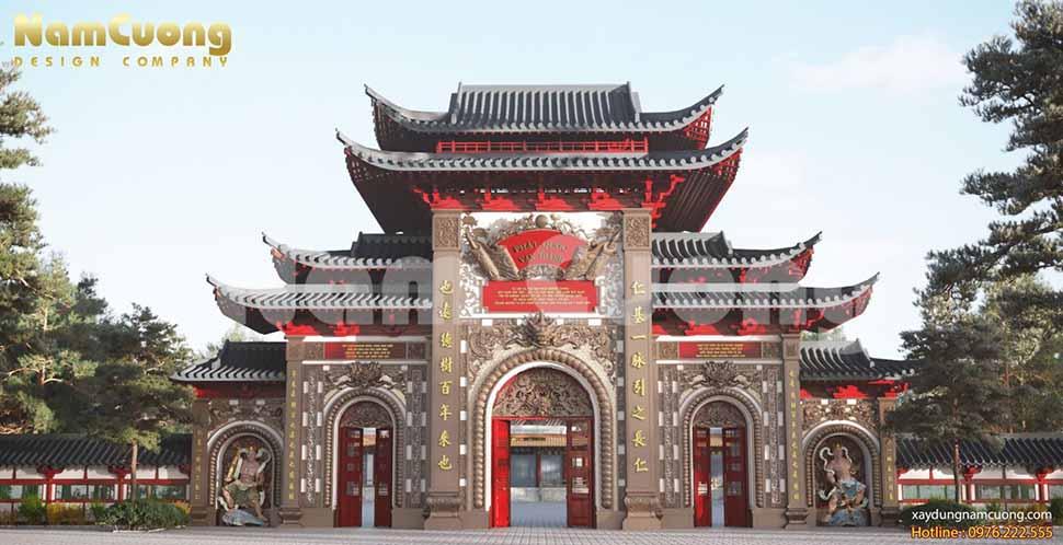 phối cảnh cổng chùa
