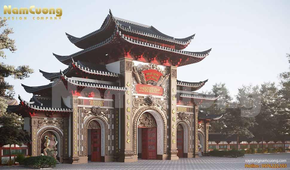 kiến trúc mẫu thiết kế cổng chùa ngũ quan