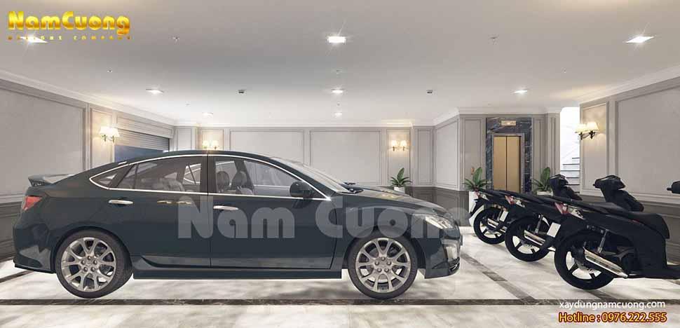 nội thất gara ô tô trong nhà đẹp