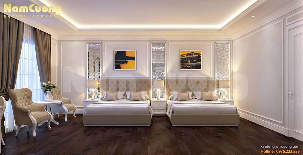 không gian phòng ngủ mẫu thiết kế khách sạn 2 sao