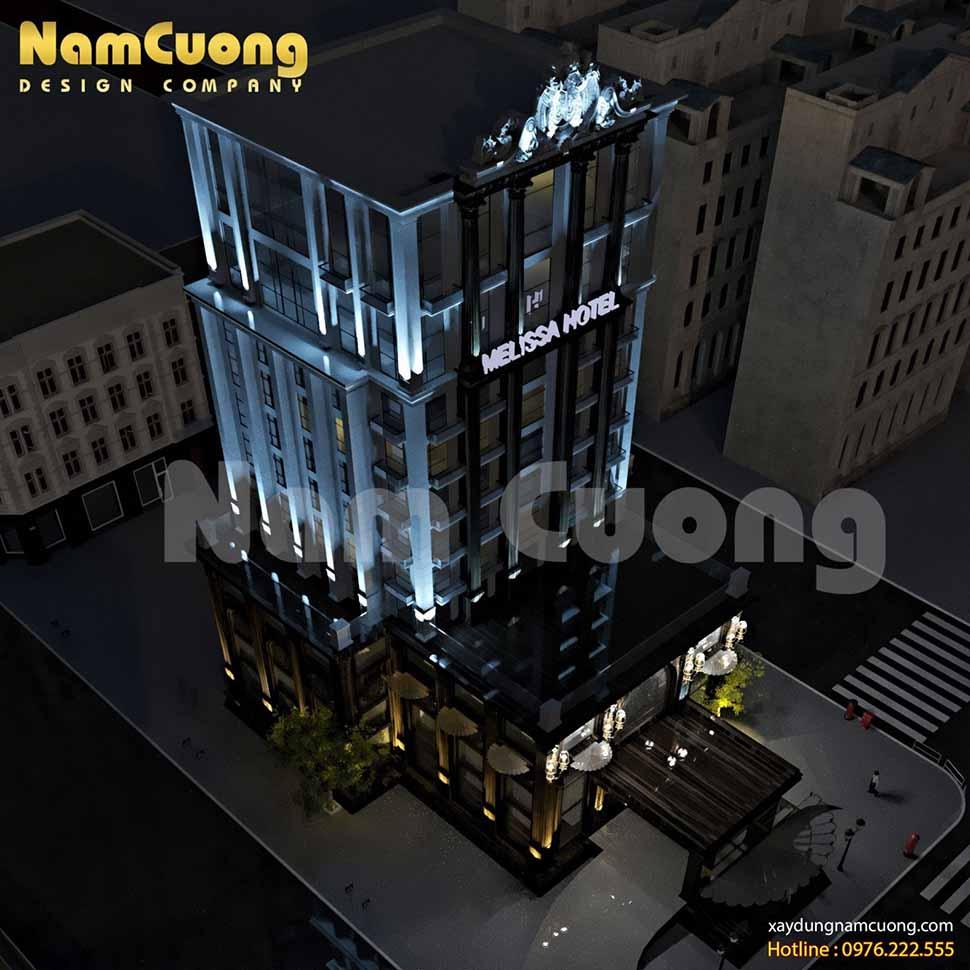 toàn cảnh khách sạn 14 tầng ban đêm