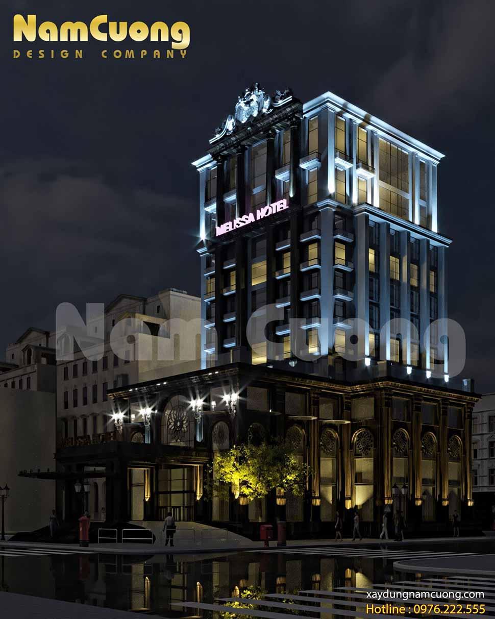 kiến trúc đồ sộ của khách sạn