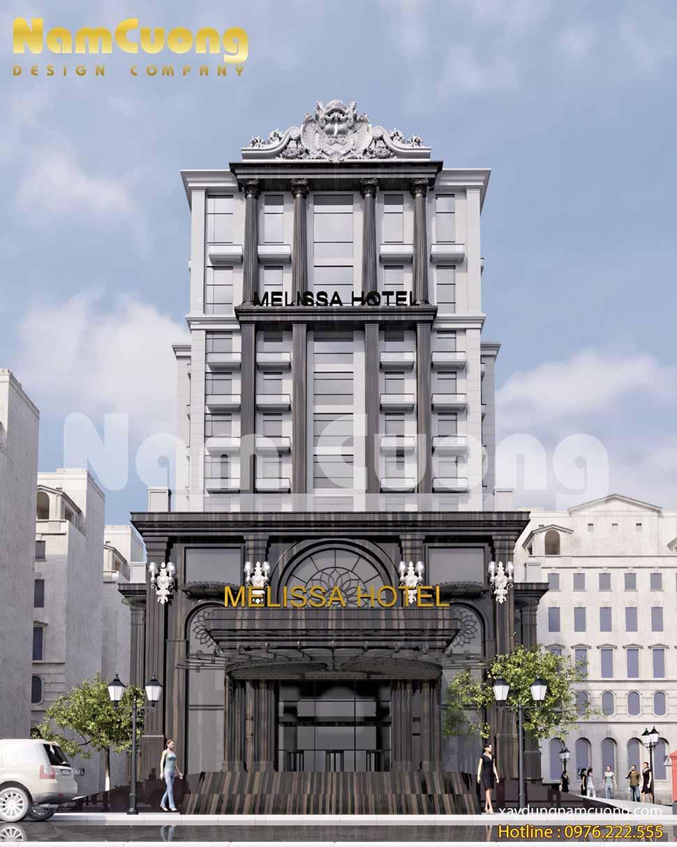 mặt tiền công trình khách sạn 14 tầng