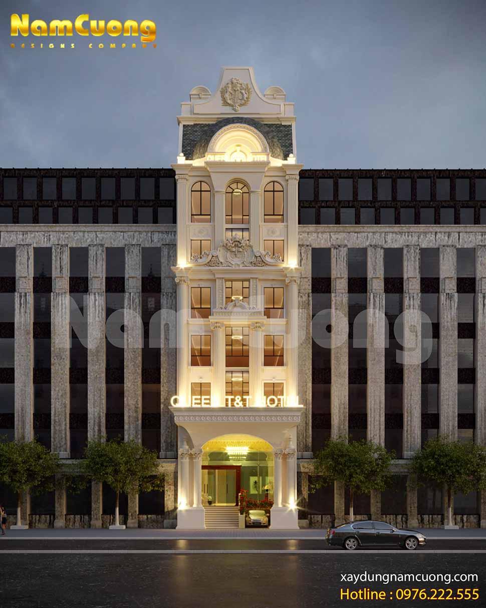 Phối cảnh tuyệt đẹp, bố cục cân đối - mẫu khách sạn tân cổ điển