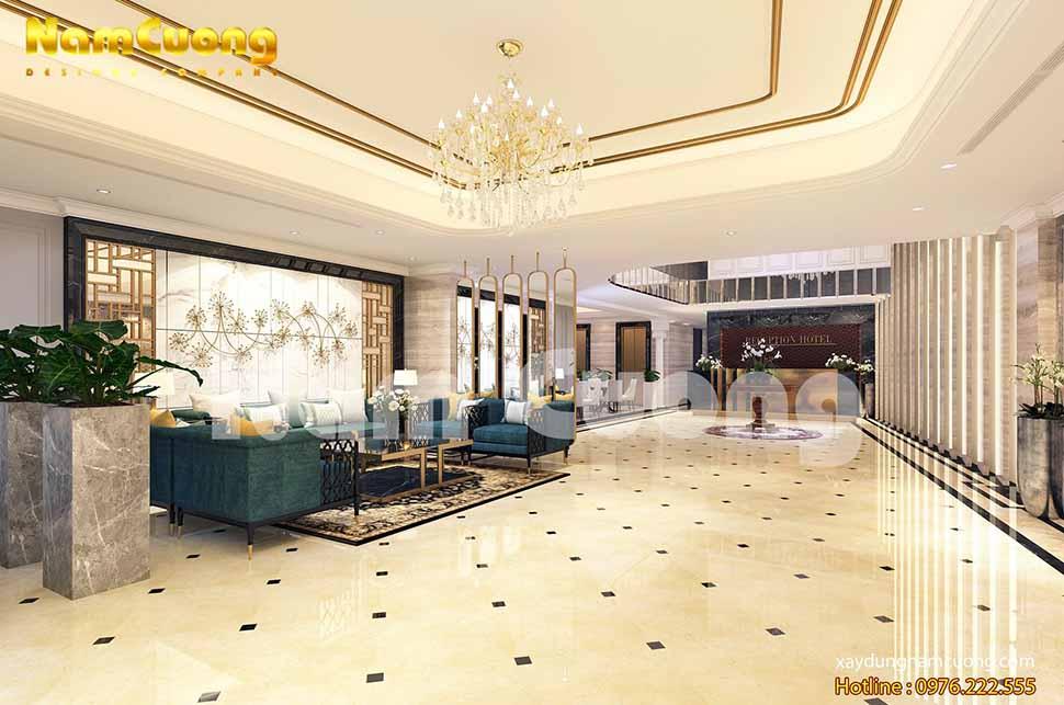 Nội thất của tầng triệt khách sạn chủ yếu là dành cho sảnh khách sạn và khu tiếp tân