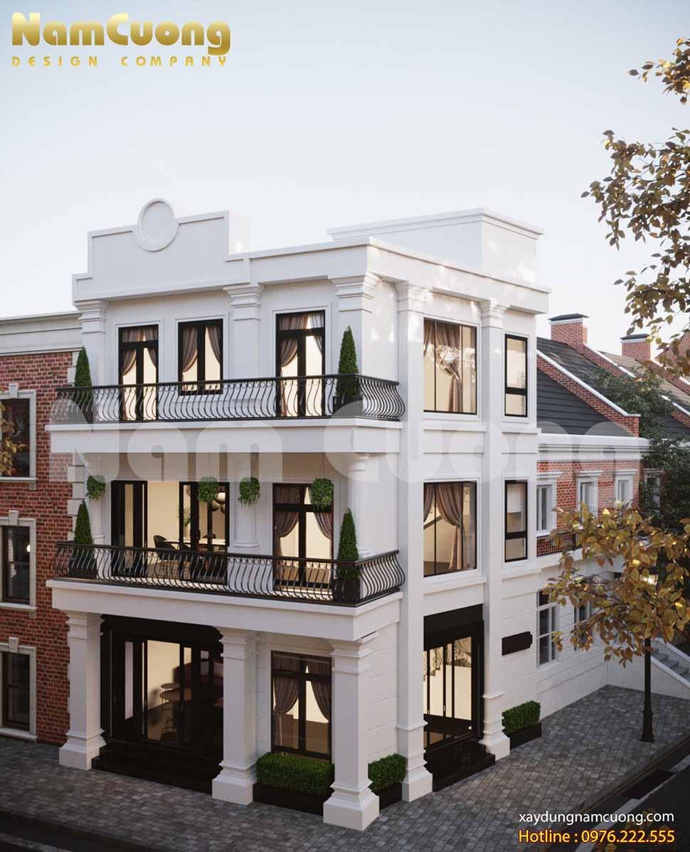 thiết kế kiến trúc nhà 3 tầng 2 mặt tiền