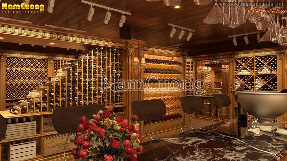 quầy rượu sử dụng gỗ tự nhiên