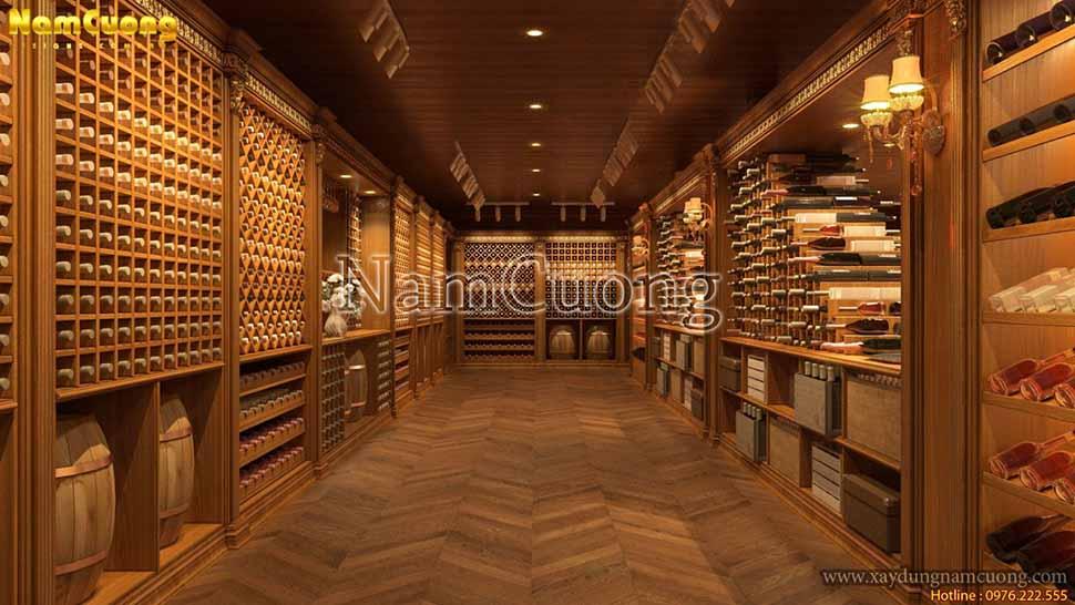 khu vực trưng bày rượu