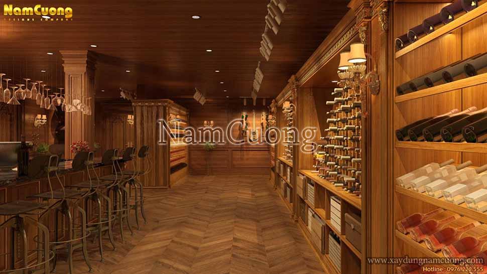 thiết kế nhà hàng có hầm rượu rộng