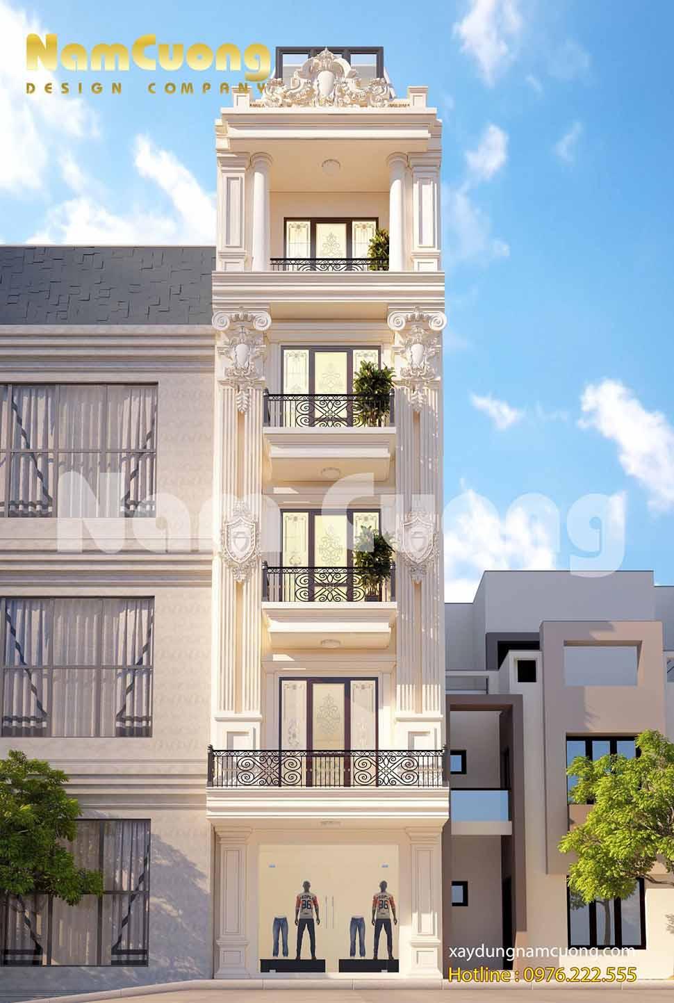 Hai chiếc cột trang trí chạy dài từ tầng 2 đến tầng 4 của công trình