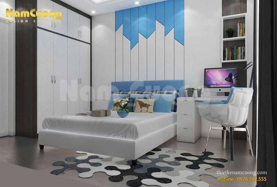 phòng ngủ con trai được thiết kế theo phong cách nội thất hiện đại