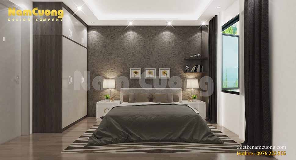 phòng ngủ VIP được lựa chọn thiết kế với tone màu trầm làm tăng vẻ đẹp sang trọng, tinh tế