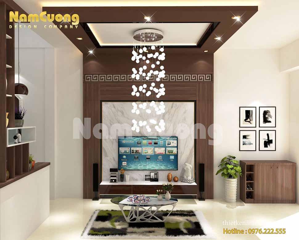 phòng khách được thiết kế nhỏ xinh với bộ sofa sang trọng đậm chất hiện đại