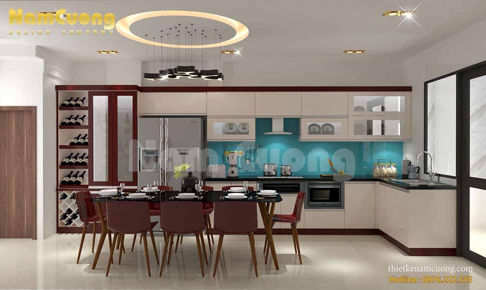 Không gian phòng bếp trong nhà ống hiện đại tại Hải Phòng được thiết kế khá đơn giản