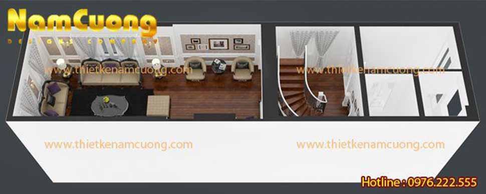 thiết kế phòng khách nhà ống