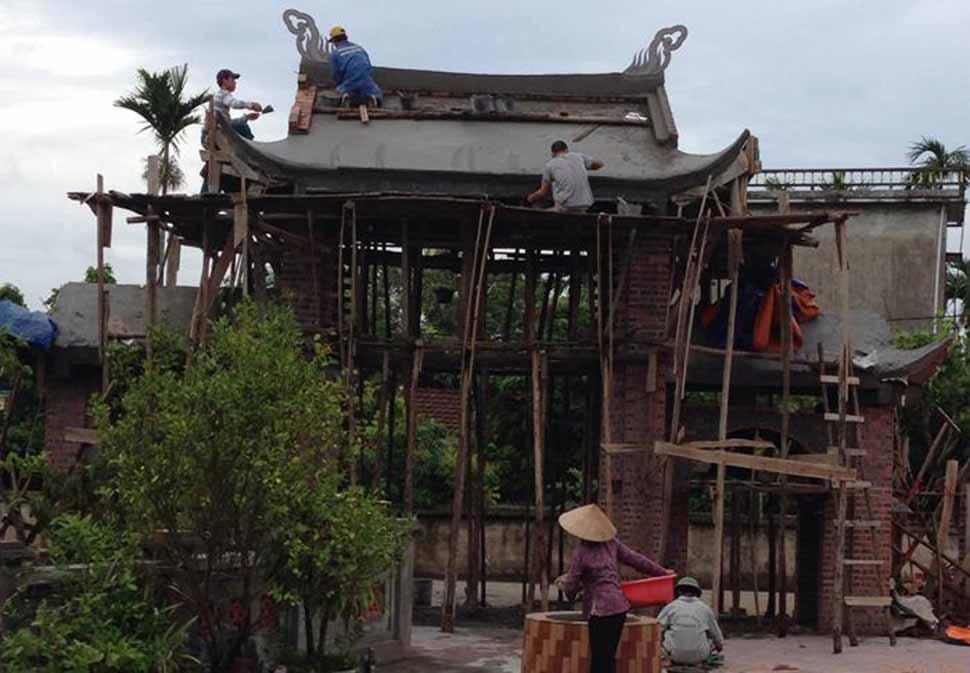 Hình ảnh thi công cổng Tam Quan