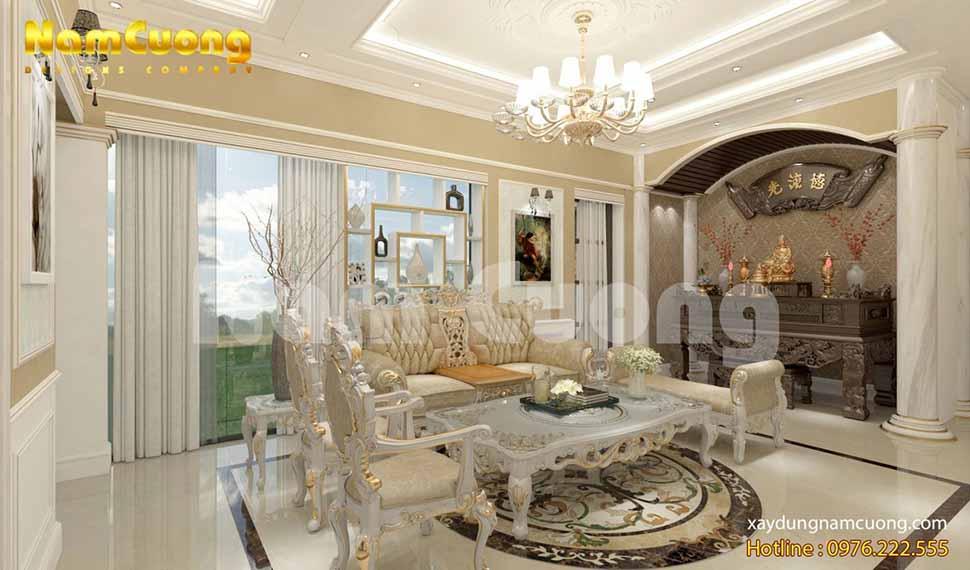 Sắc vàng tôn lên vẻ đẹp sang trọng cho phòng khách