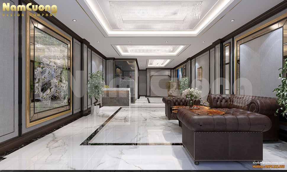 Nội thất tầng 2 tòa nhà cho thuê kinh doanh