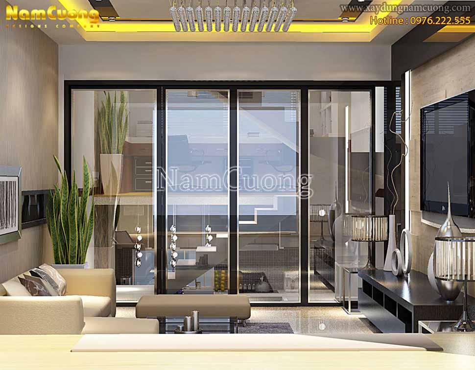 nội thất phòng khách dài hiện đại