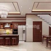 thiết kế phòng bếp bằng gỗ ấn tượng