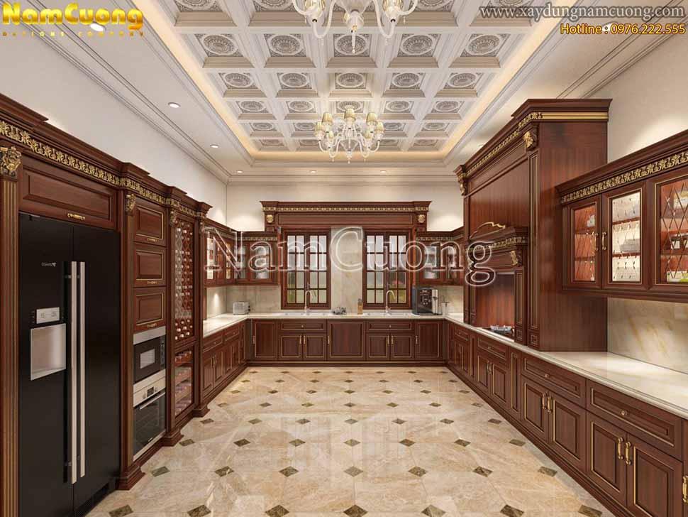 khu bếp nấu trong phòng bếp căn hộ