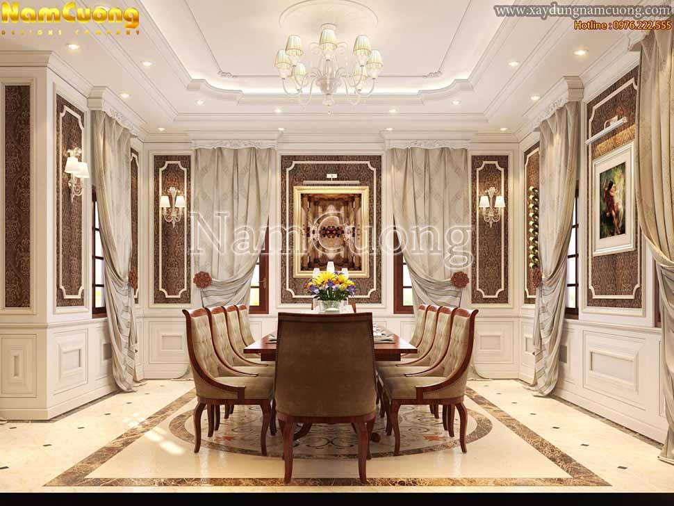 bộ bàn ăn tân cổ điển trong căn hộ