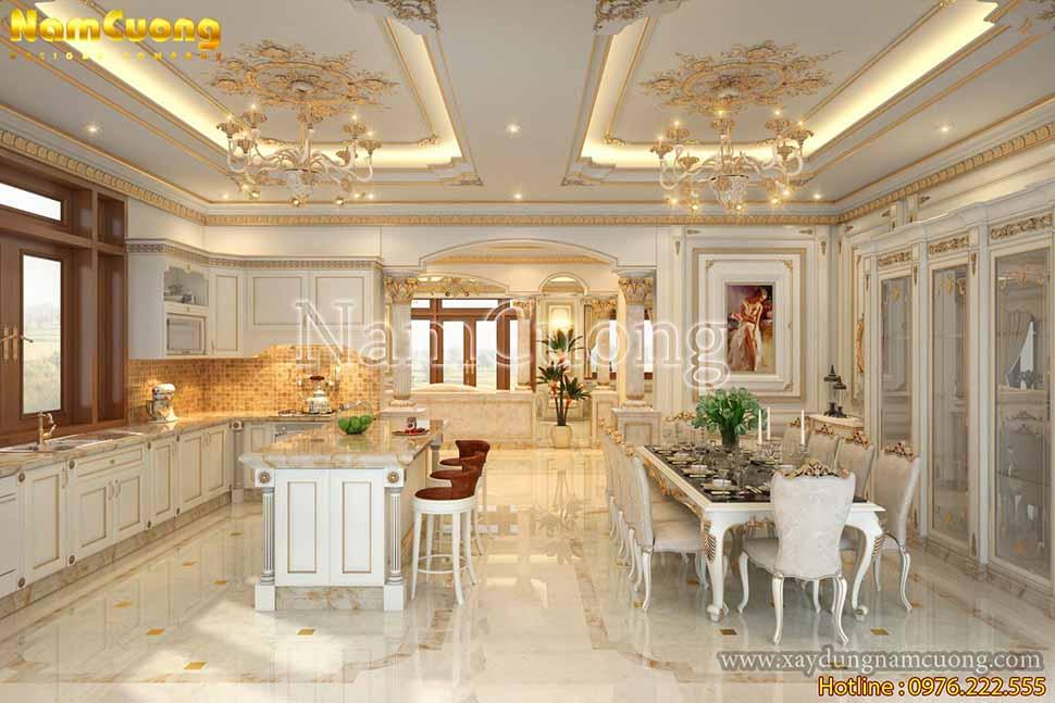 phòng bếp nấu thiết kế phòng khách biệt thự đẹp
