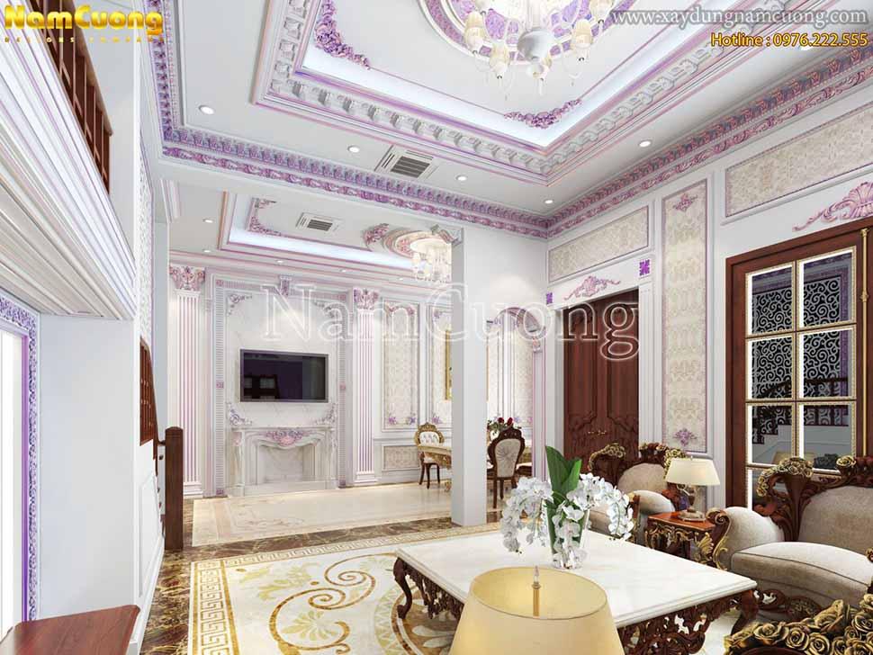 không gian phòng khách hình chữ nhật