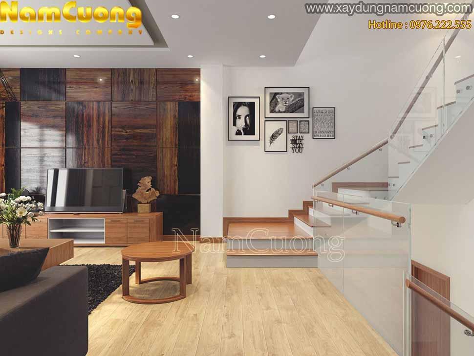 không gian phòng khách nhà rộng 5m