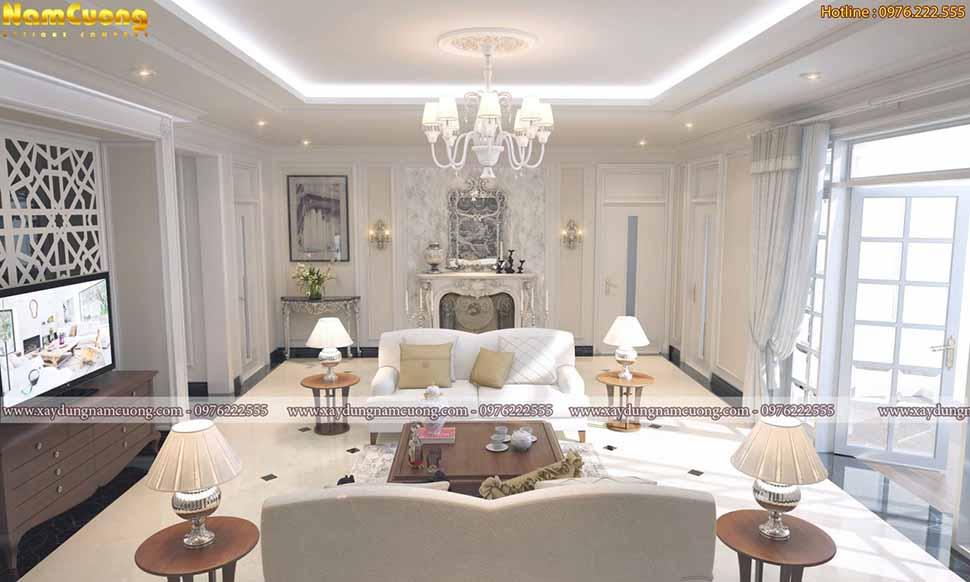 nội thất phòng khách rộng 40m2 màu trắng