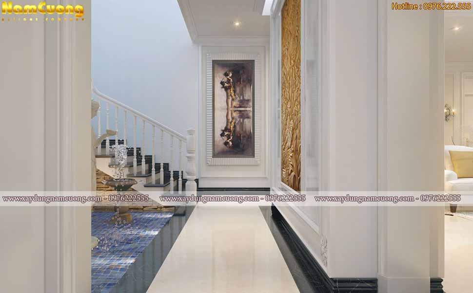 sảnh thang tầng 1 biệt thự