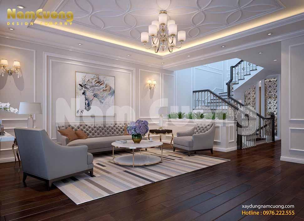 thiết kế phòng khách trên tầng 2